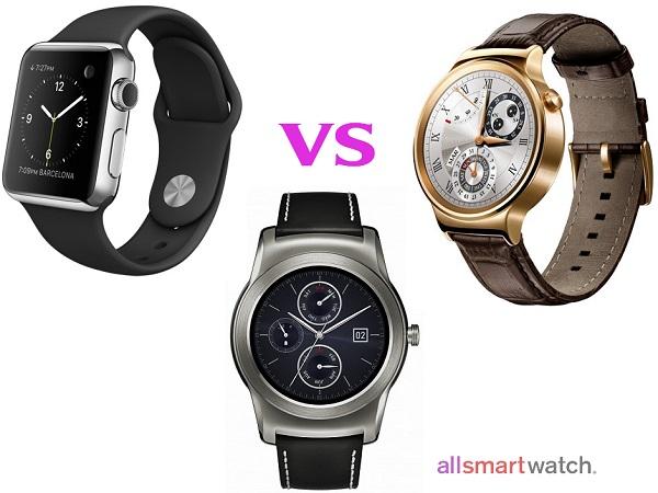 Сравнение Apple Watch, Huawei Watch и LG Watch Urbane